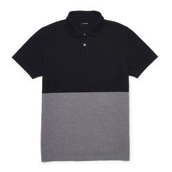 """<strong>Club Monaco</strong> Color Block Polo in Black/Grey, <a href=""""http://www.clubmonaco.com/product/index.jsp?productId=32853456"""">$69.50</a>"""