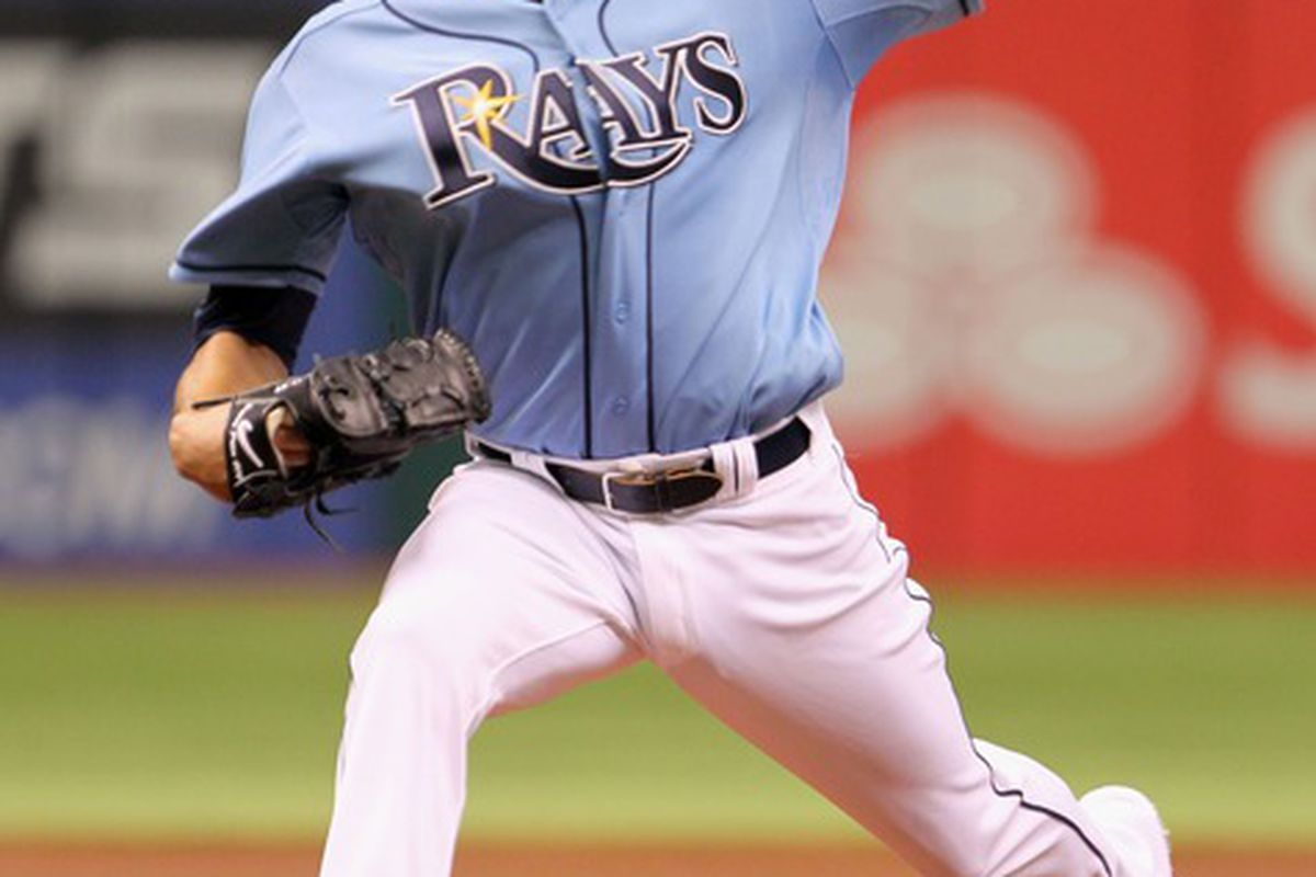 May 20, 2012; St. Petersburg, FL, USA; Tampa Bay Rays starting pitcher David Price (14) throws a pitch in the first inning against the Atlanta Braves at Tropicana Field. Mandatory Credit: Kim Klement-US PRESSWIRE