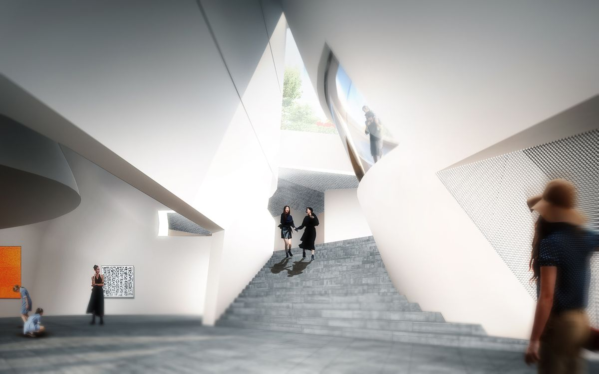 A rendering of a central staircase flanked by two large galleries and a skylight-like window to the outside.