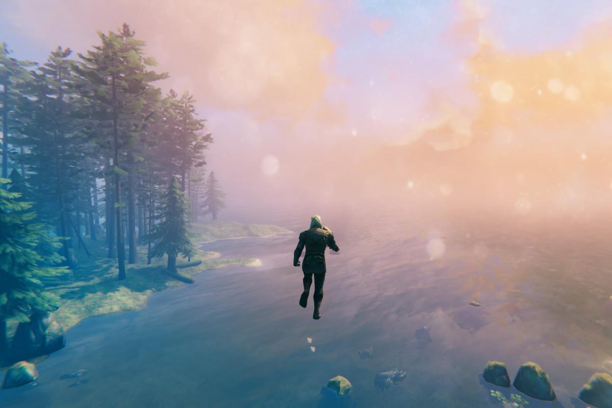 A character in Valheim freely flies around