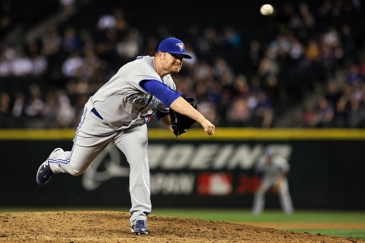 Jul 31, 2012; Seattle, WA, USA; Toronto Blue Jays relief pitcher Drew Carpenter (39) pitches to the Seattle Mariners during the 8th inning at Safeco Field. Seattle defeated Toronto 7-2. Mandatory Credit: Steven Bisig-US PRESSWIRE