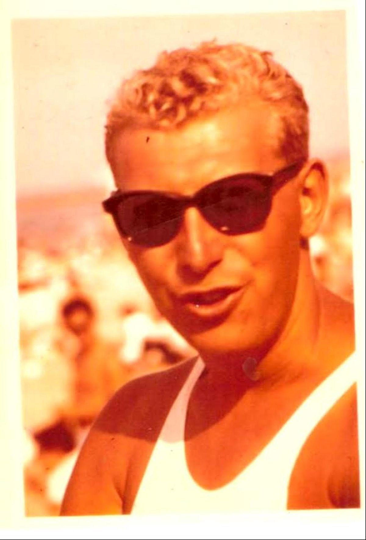 Joe Pecoraro, then about 25, wearing his lifeguard captain jersey.