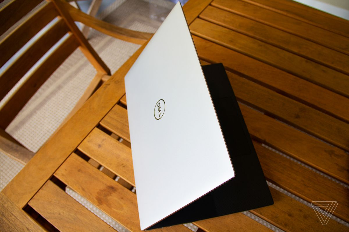 The Dell XPS 17 on a table halfway open, from above.