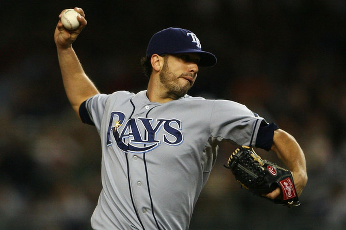 NEW YORK - SEPTEMBER 21:  James Shields #33 of the Tampa Bay Rays pitches against the New York Yankees on September 21 2010 at Yankee Stadium in the Bronx borough of New York City.  (Photo by Andrew Burton/Getty Images)