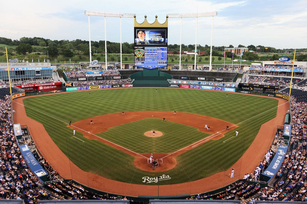 KANSAS CITY MO - JULY 30:  A general view of Kauffman Stadium during the game between the Baltimore Orioles and the Kansas City Royals on July 30 2010 at Kauffman Stadium in Kansas City Missouri.  (Photo by Jamie Squire/Getty Images)