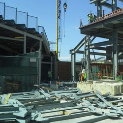 1:50 p.m. Right-field video board sections spread out on Sheffield -