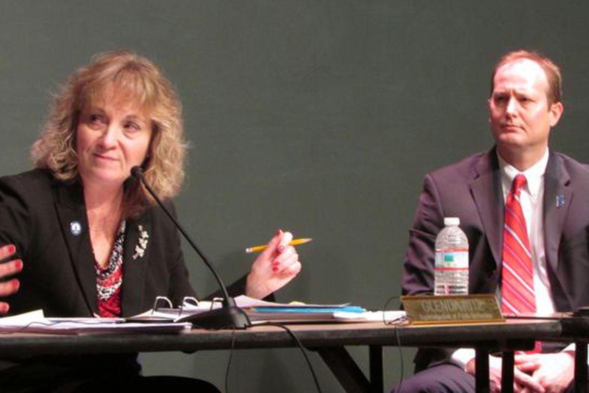 State Superintendent Glenda Ritz and board member Gordon Hendry at an Indiana State Board of Education meeting in February. (Scott Elliott)