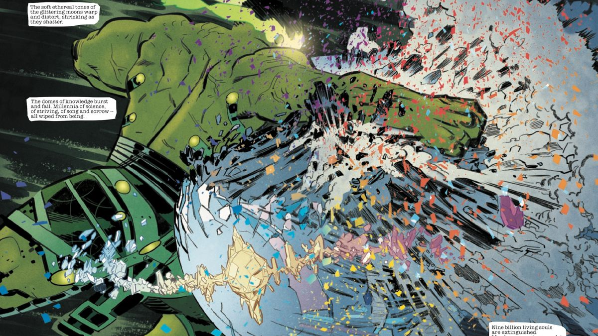 The massive Breaker of Worlds, formerly the Hulk, smashes a planet of nine billion souls with a single punch, in The Immortal Hulk #25, Marvel Comics (2019).