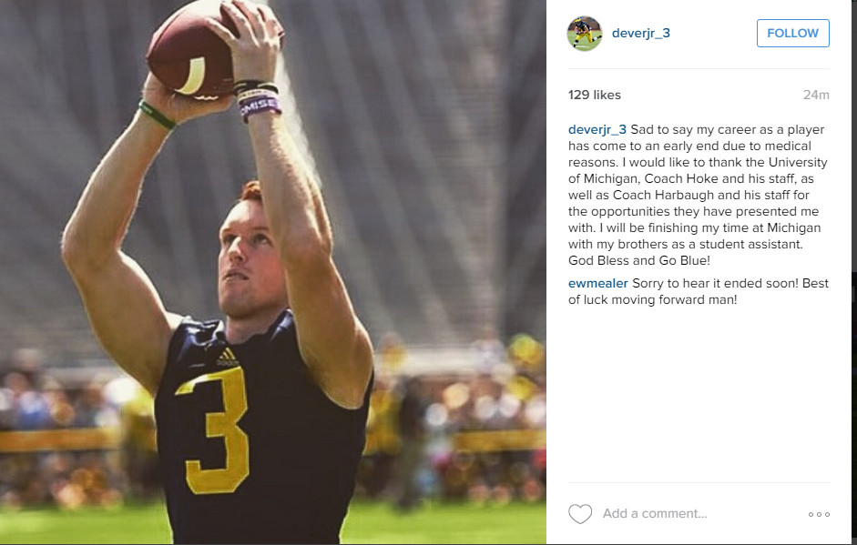 Bo Dever's Career Ends - Instagram