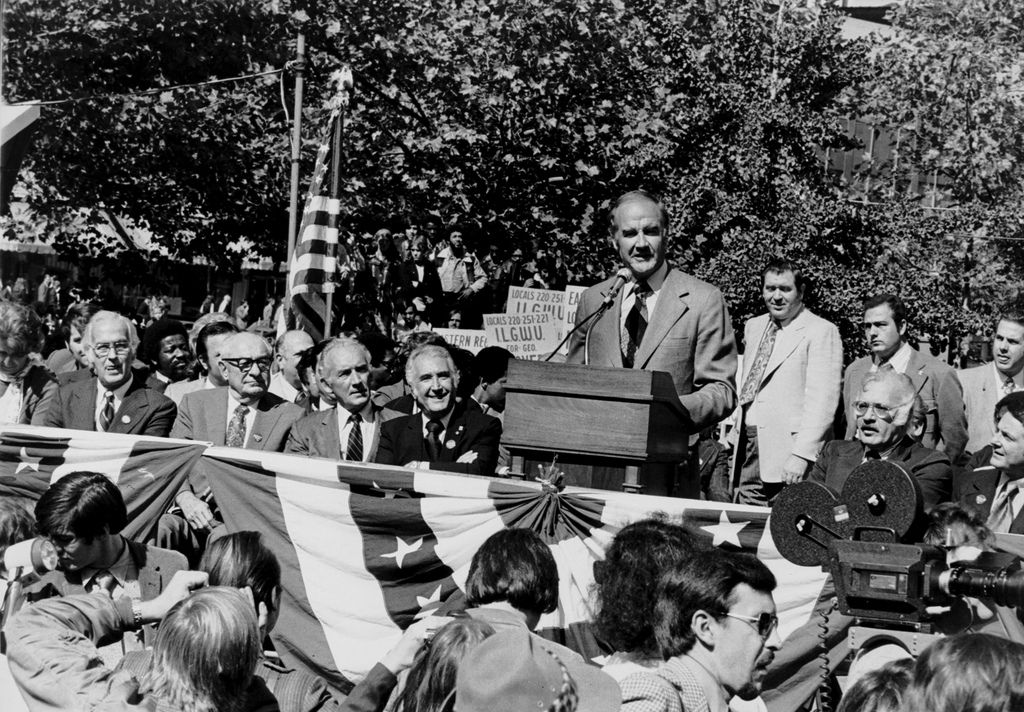 George McGovern speaks to many ILGWU supporters at an open-air campaign rally, Oct. 15, 1972