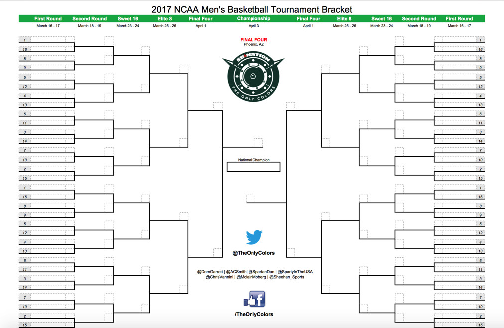 March Madness 2017 Download Your Blank Printable Ncaa Tournament