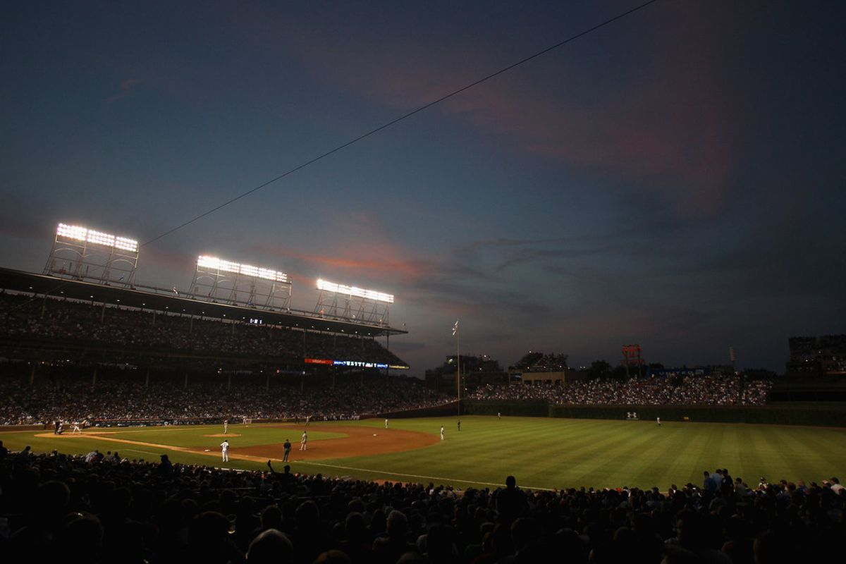 This photo is here just because it's pretty: a general view of Wrigley Field at sunset as the Chicago Cubs take on the New York Yankees on June 19, 2011 in Chicago, Illinois. (Photo by Jonathan Daniel/Getty Images)