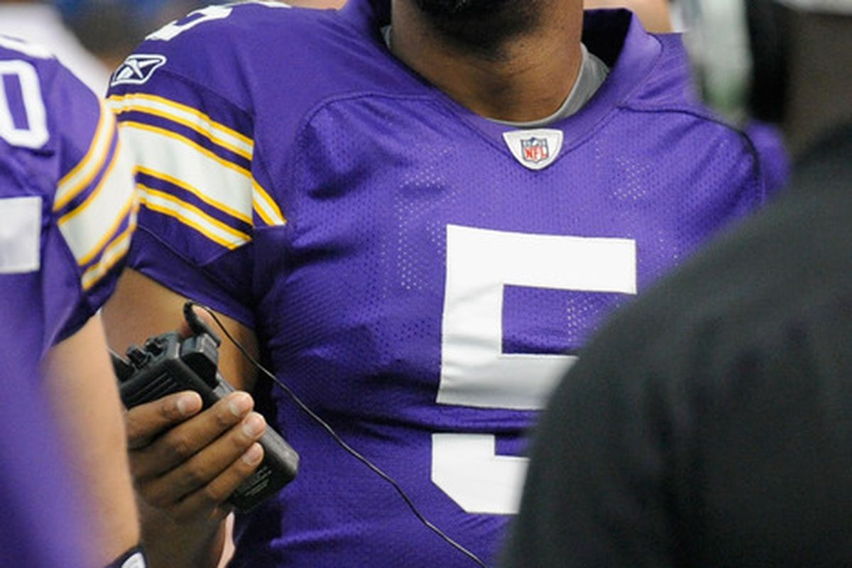 Donovan McNabb of the Minnesota Vikings looks on from the sidelines in the first quarter of the game against the Green Bay Packers on October 23, 2011 at Hubert H. Humphrey Metrodome in Minneapolis, Minnesota. (Photo by Hannah Foslien/Getty Images)