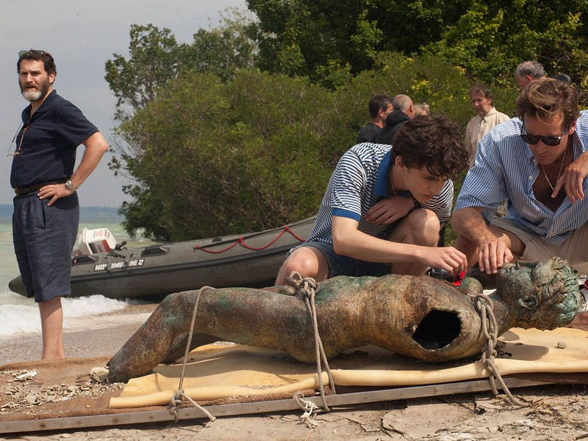 Michael Stuhlbarg, Timothée Chalamet, and Armie Hammer in Call Me By Your Name