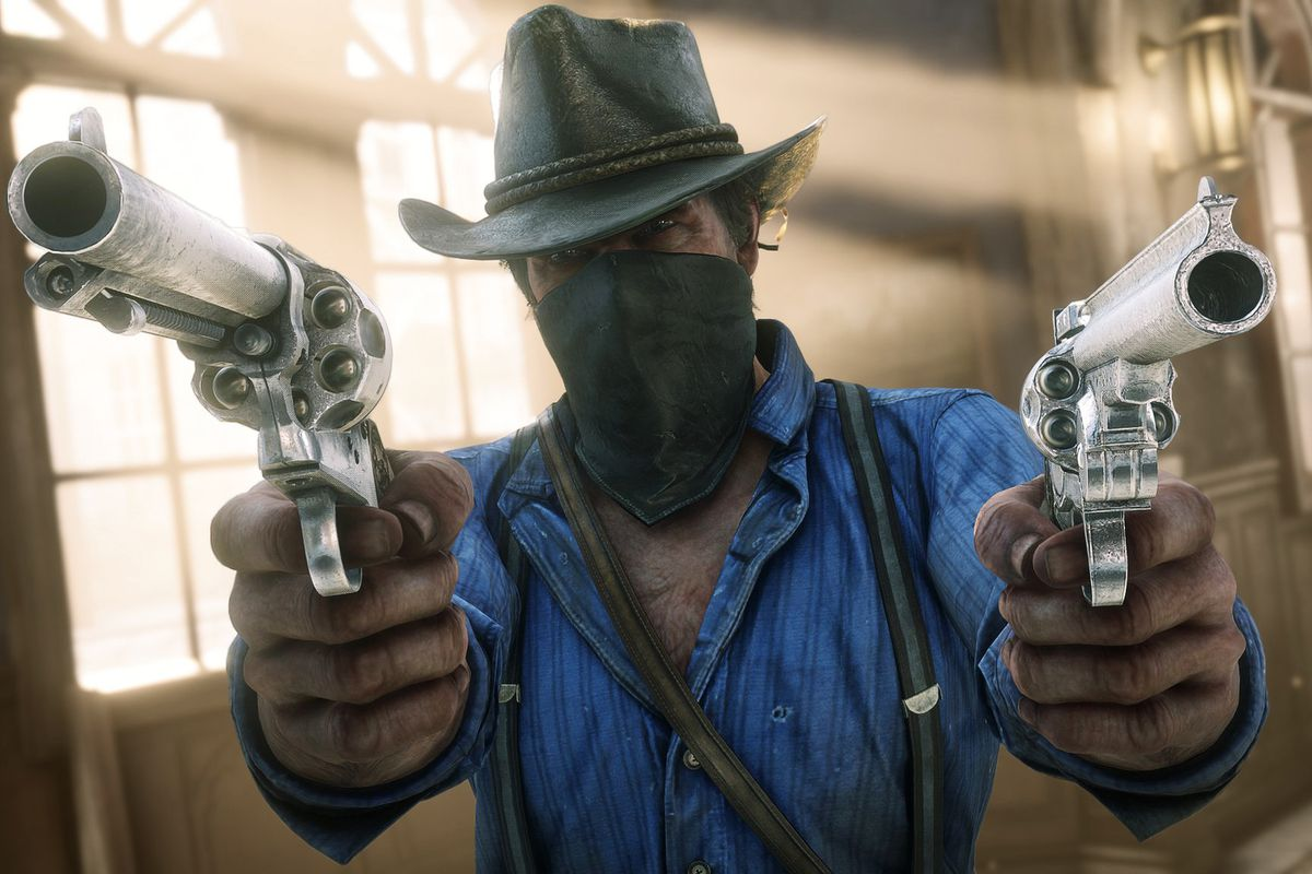 Red Dead Redemption 2 - Arthur Morgan wearing a bandana and dual-wielding revolvers