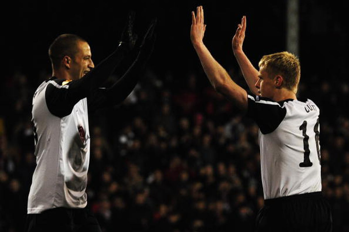 Bobby Zamora And Damien Duff. 4/1 Photo via Getty Images