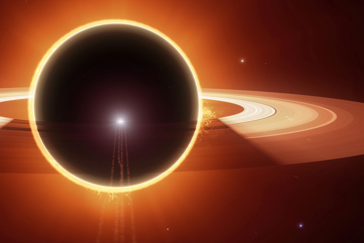 An eclipse around a ringed planet, taken during the Distant Worlds 2 expedition in 2019.