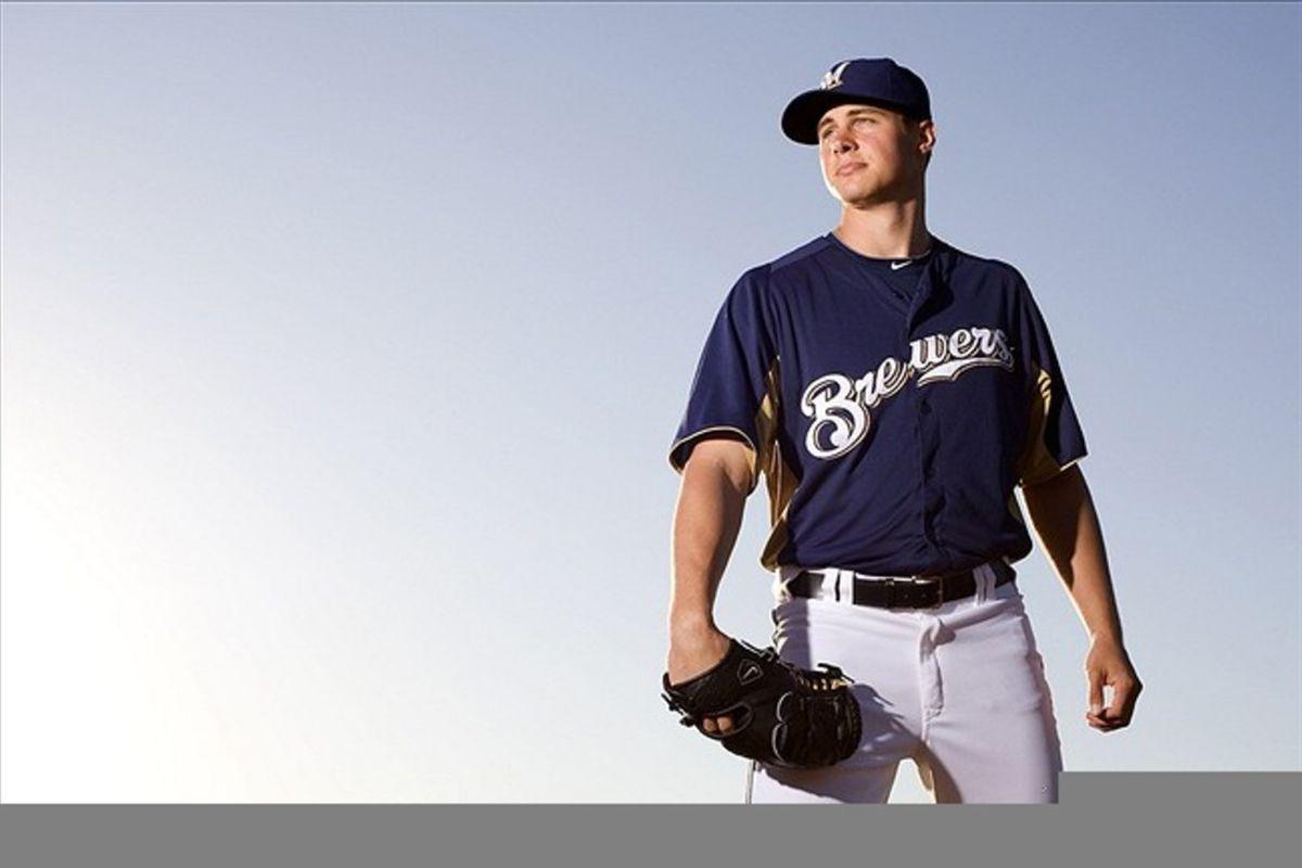 Feb 26, 2012; Phoenix, AZ, USA; Milwaukee Brewers pitcher Jed Bradley during photo day at Maryvale Baseball Park.  Mandatory Credit: Jake Roth-US PRESSWIRE
