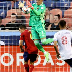 Real Salt Lake goalkeeper David Ochoa (1) makes a stop as Real Salt Lake and Vancouver FC play at Rio Tinto Stadium in Sandy on Wednesday, July 7, 2021.
