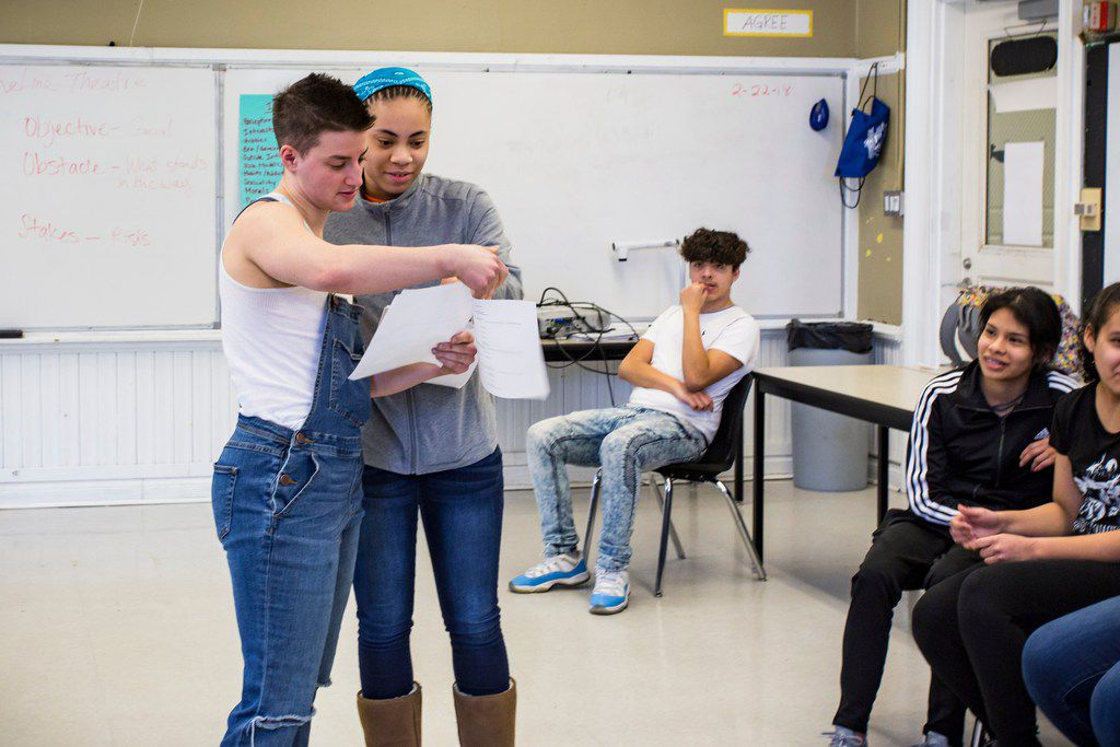 """Cast member Theo Germaine enacts a scene from TimeLine Theatre's production of """"Boy"""" with Alcott College Prep Freshman Auriel Williams. TimeLine Theatre's Living History program partnerships with Chicago high schools for class discussions and workshops ab"""