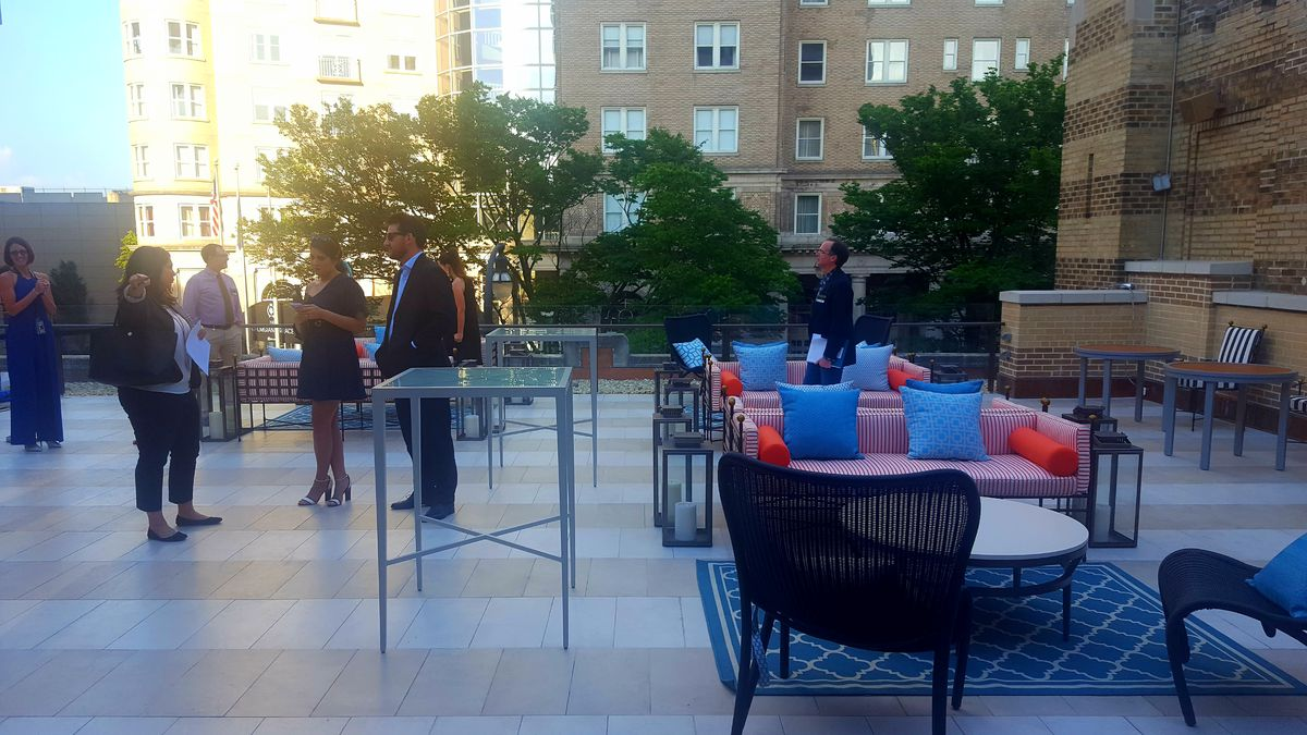 A photo of the rooftop lounge.