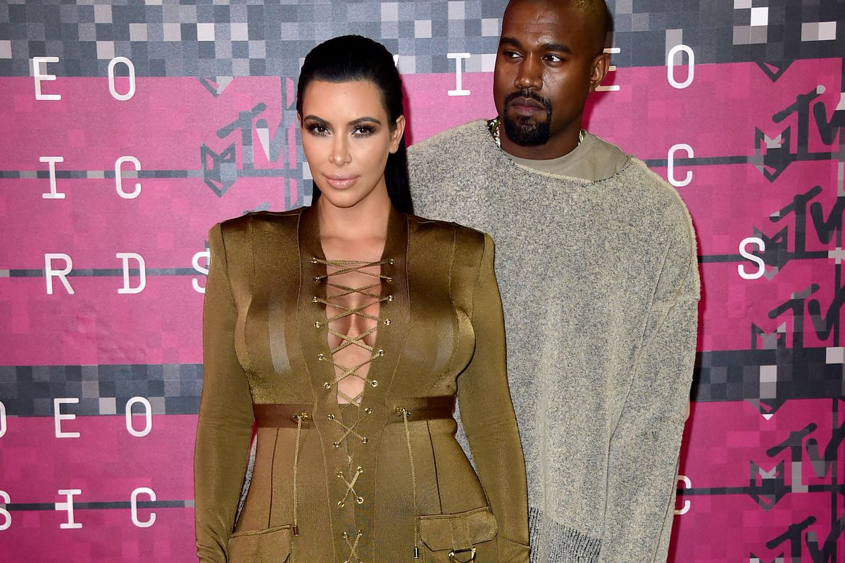 Kanye West (R) and TV personality Kim Kardashian at the 2015 MTV Video Music Awards earlier this week.