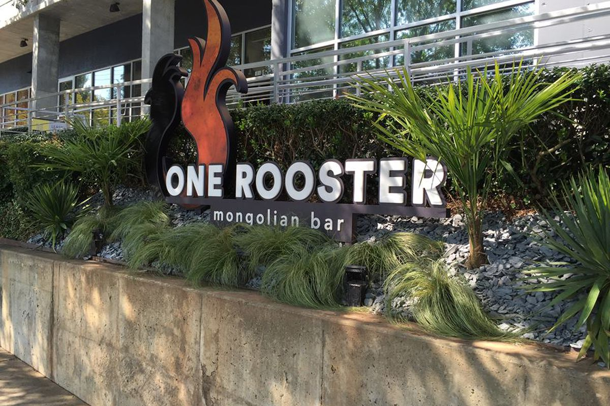 Signage outside One Rooster Mongolian Bar