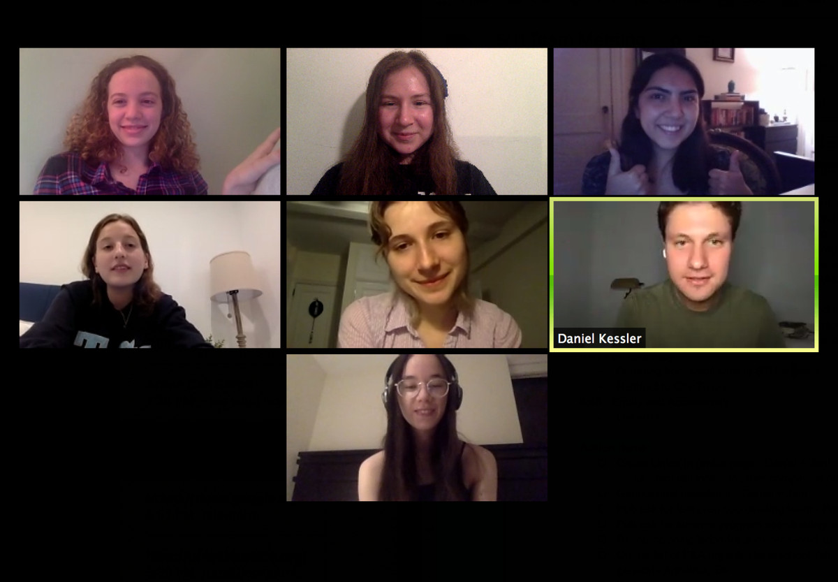Ilana Cohen (top middle) on a Zoom call with a group of college students who helped organize a free tutoring service called EduMate.