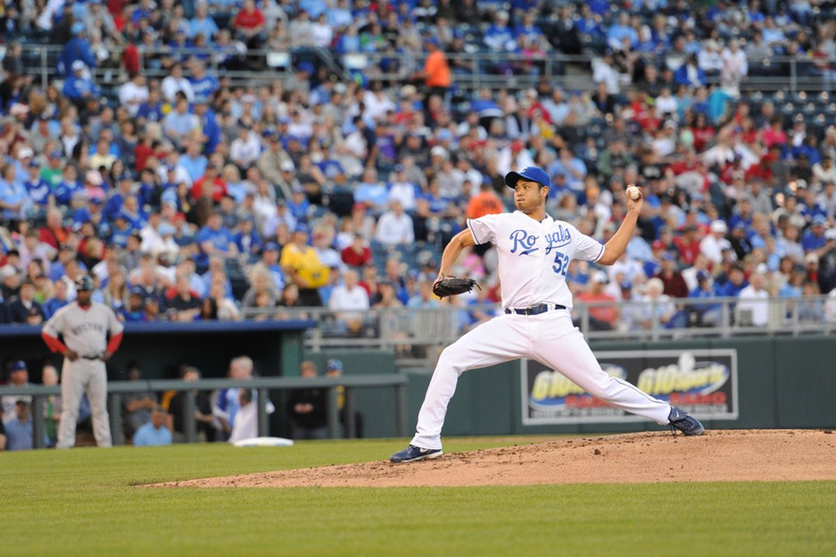 May 9, 2012; Kansas City, MO, USA; Kansas City Royals pitcher Bruce Chen (52) delivers a pitch against the Boston Red Sox during the third inning at Kauffman Stadium.  Mandatory Credit: Peter G. Aiken-US PRESSWIRE