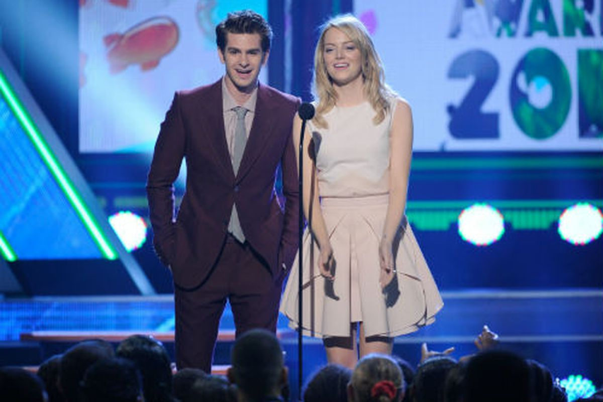 Emma Stone and Andrew Garfield at the Kids' Choice Awards. Photo via Getty.