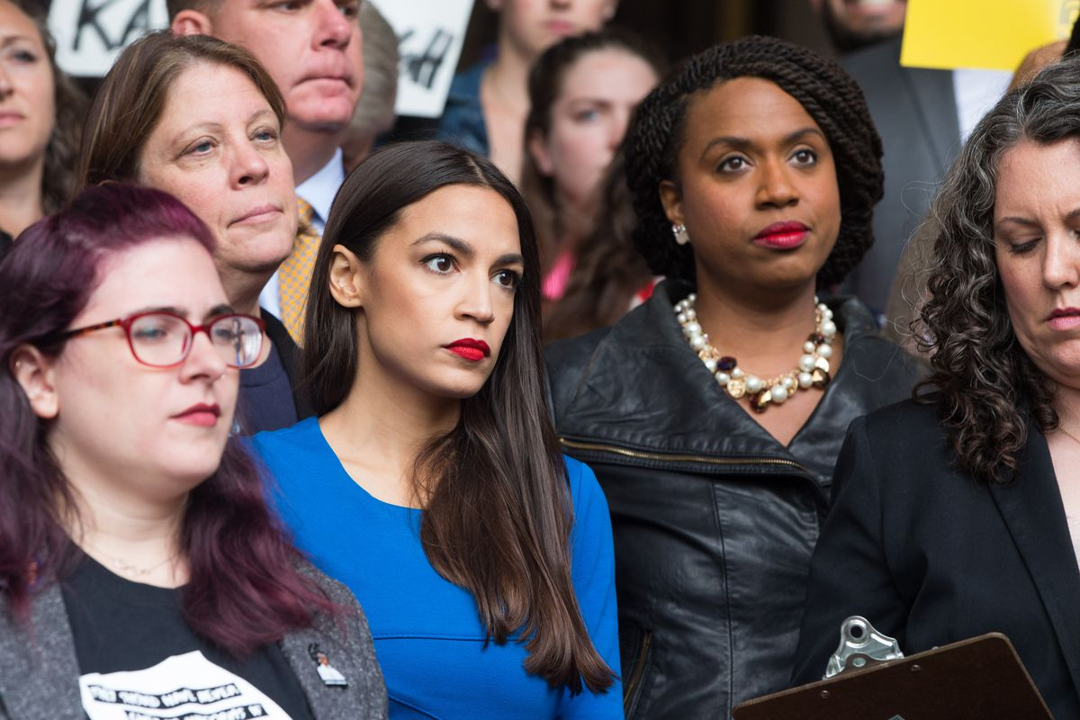 brand new 51b3b 8c3f6 Alexandria Ocasio-Cortez and Ayanna Pressley at a rally in Boston in  October 2018. Both newly elected members of Congress are set to join the  House ...
