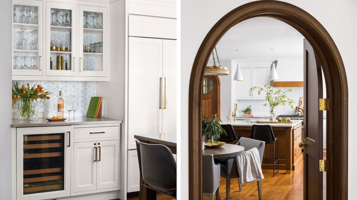 beverage bar/arched entry, kitchen remodel in Larchmont, NY, Light touch, Nov/Dec 2020