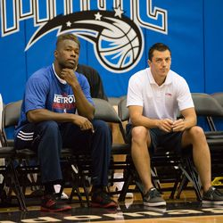 Rodney Stuckey watches the young Pistons during shoot-around