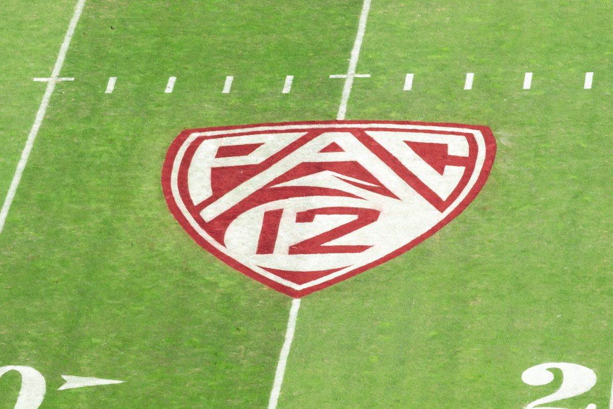 A detail view of the Pac-12 logo and grass field at Stanford Stadium prior to an NCAA college football game between the Stanford Cardinal and the California Golden Bears in the annual Big Game rivalry on November 23, 2019 in Palo Alto, California.