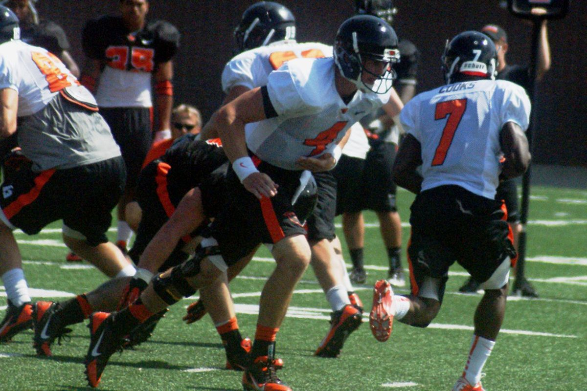 Sean Mannion and Brandin Cooks work on the fly sweep.