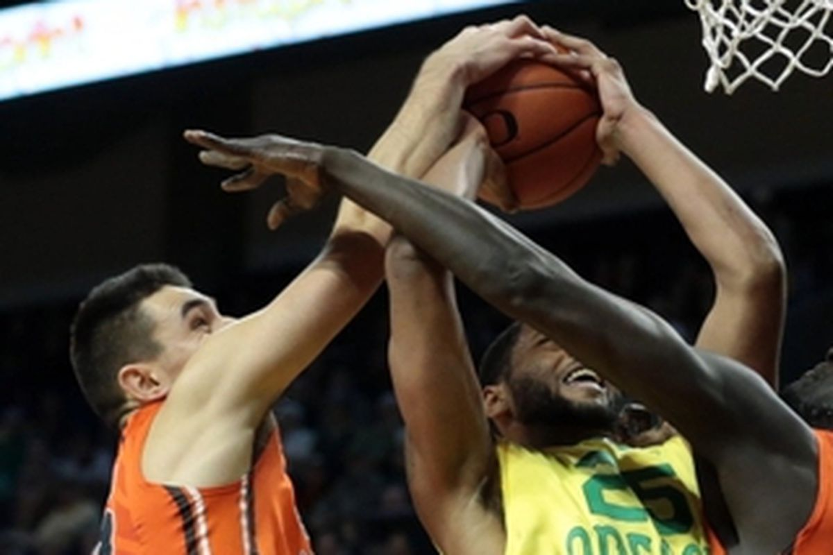 Tanner Sanders, above blocking a shot in last year's Civil War against Oregon, will add baseball to his list of sports he's tried at Oregon St.