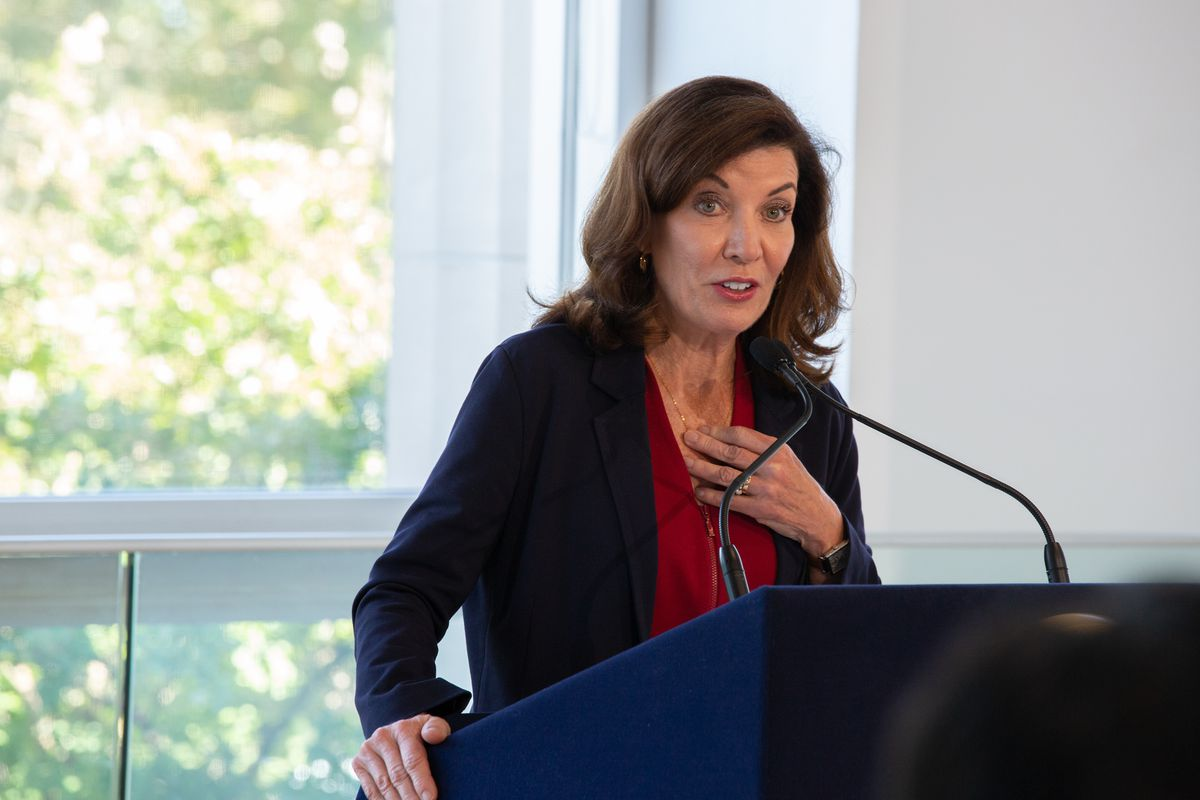 Governor Kathy Hochul spoke at the Queens Museum about providing Hurricane Ida relief to undocumented New Yorkers, Sept. 27, 2021.