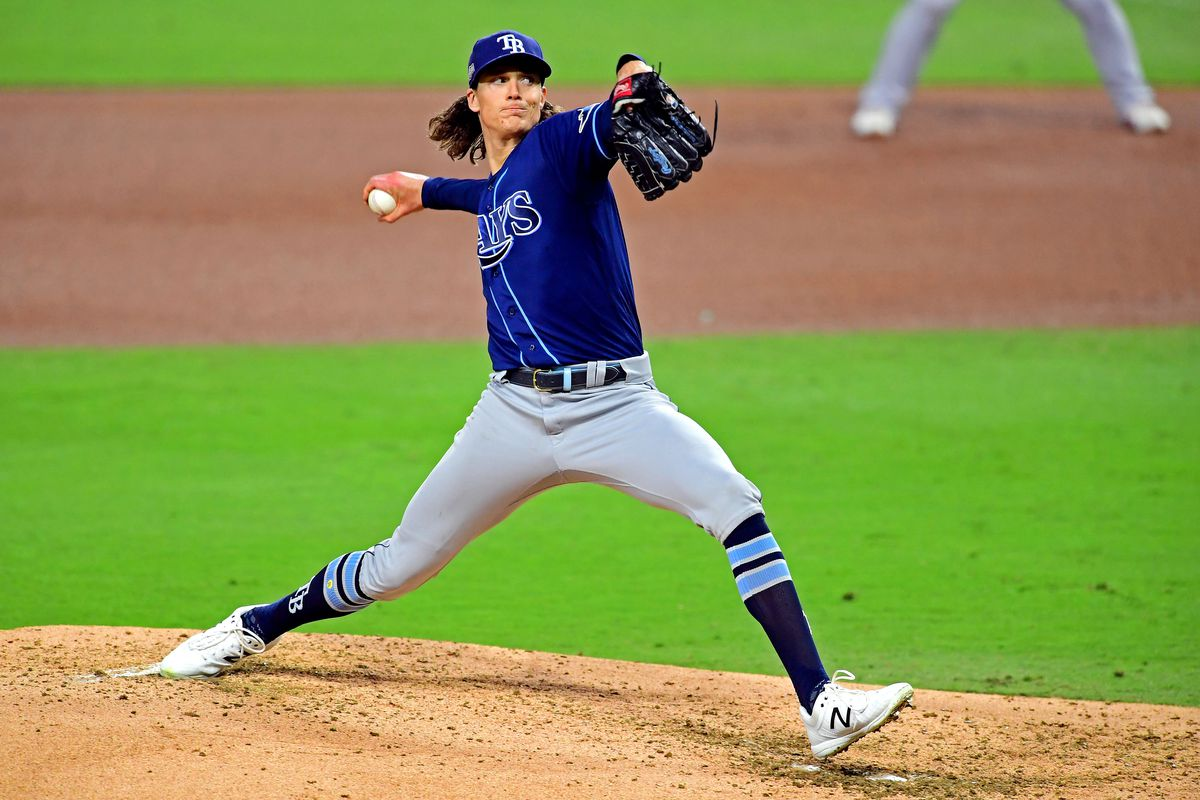 Tampa Bay Rays starting pitcher Tyler Glasnow (20) pitches during the fourth inning against the Houston Astros during game four of the 2020 ALCS at Petco Park.