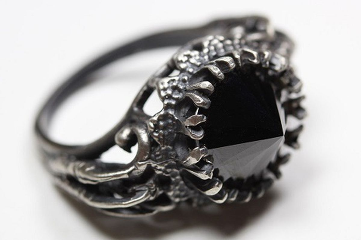 """<a href=""""http://www.bloodmilkjewels.com/products/belonging-to-the-darkness-sterling-silver-black-c"""">Belonging to the Darkness ring</a> in black CZ and sterling silver, $128. Image credit: Blood Milk"""