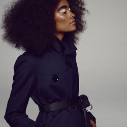 A belted trench coat.