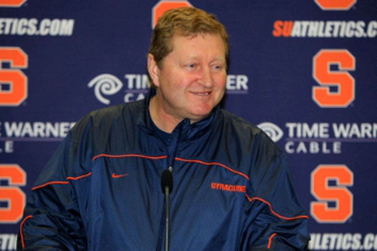 Coach Desko answers some questions during his annual season opening speech (via SUathletics.com)