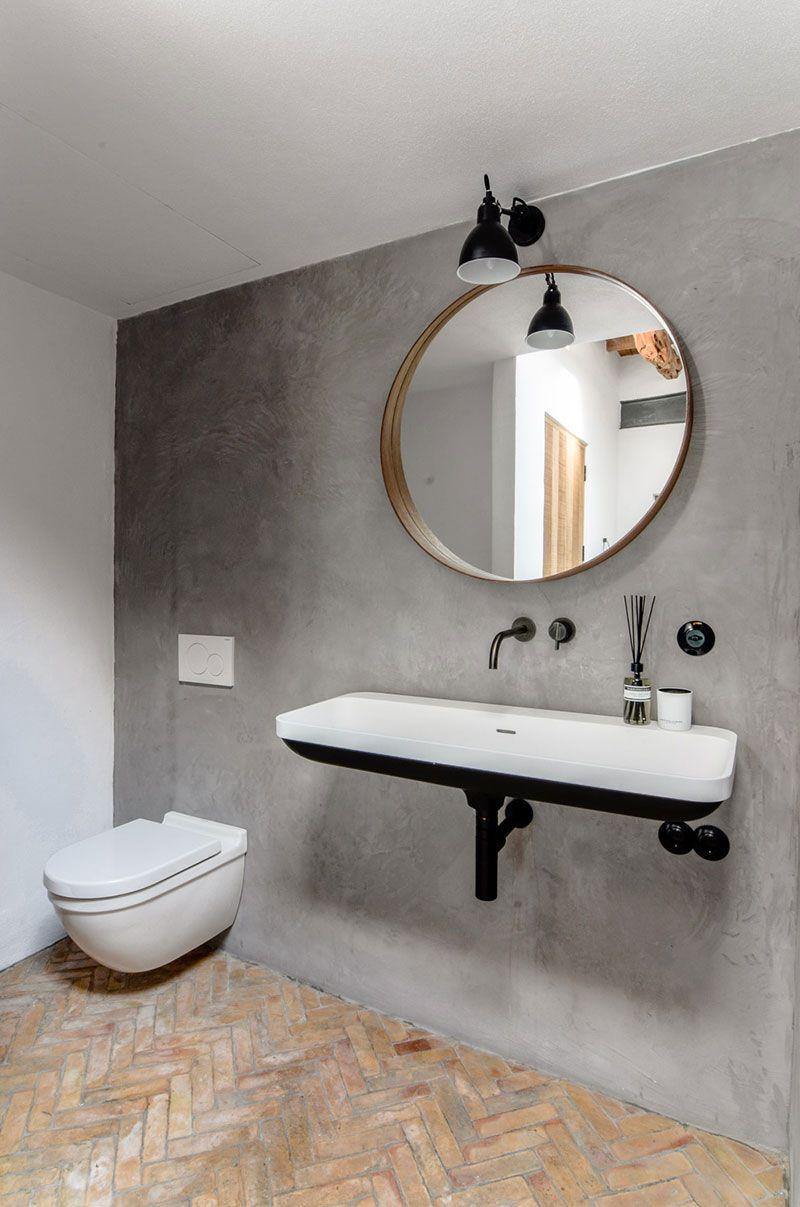 Bathroom with herringbone tile floor