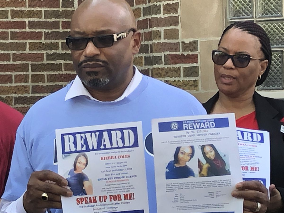 Mack Julion, head of the local letter carriers union that represents Kierra Coles, holds up missing flyers Sunday at a news conference to announce an increase in reward money for information leading to her discovery | Mitch Dudek / Sun-Times photo