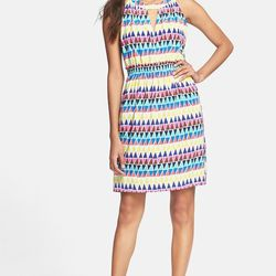 """Kate Spade's geometric-patterned silk dress is bright and sassy and fun; ideal for covering your trip-ups when you're also feeling bright and sassy and fun. $398 at <a href=""""http://www.katespade.com/ellina-dress/NJMU3340,en_US,pd.html?dwvar_NJMU3340_color"""