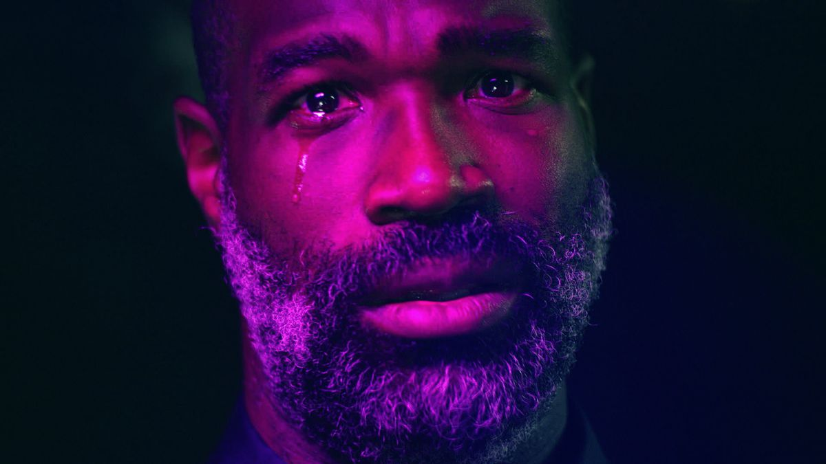 Tunde Adebimpe crying in close-up in She Dies Tomorrow