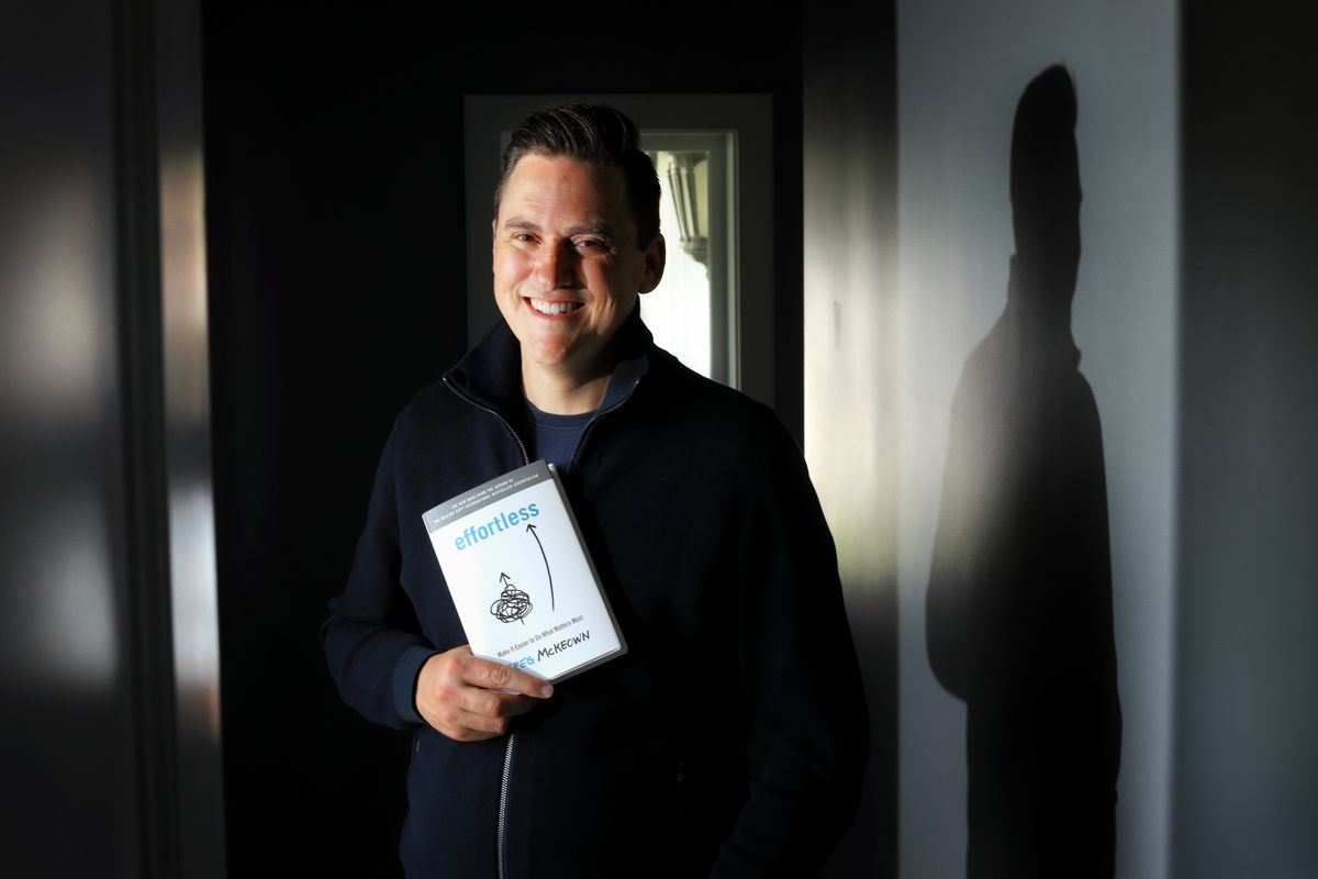 """Greg McKeown is pictured with his latest book, """"Effortless,"""" in Calabasas, California,on Saturday, May 1, 2021. His book was released last week."""