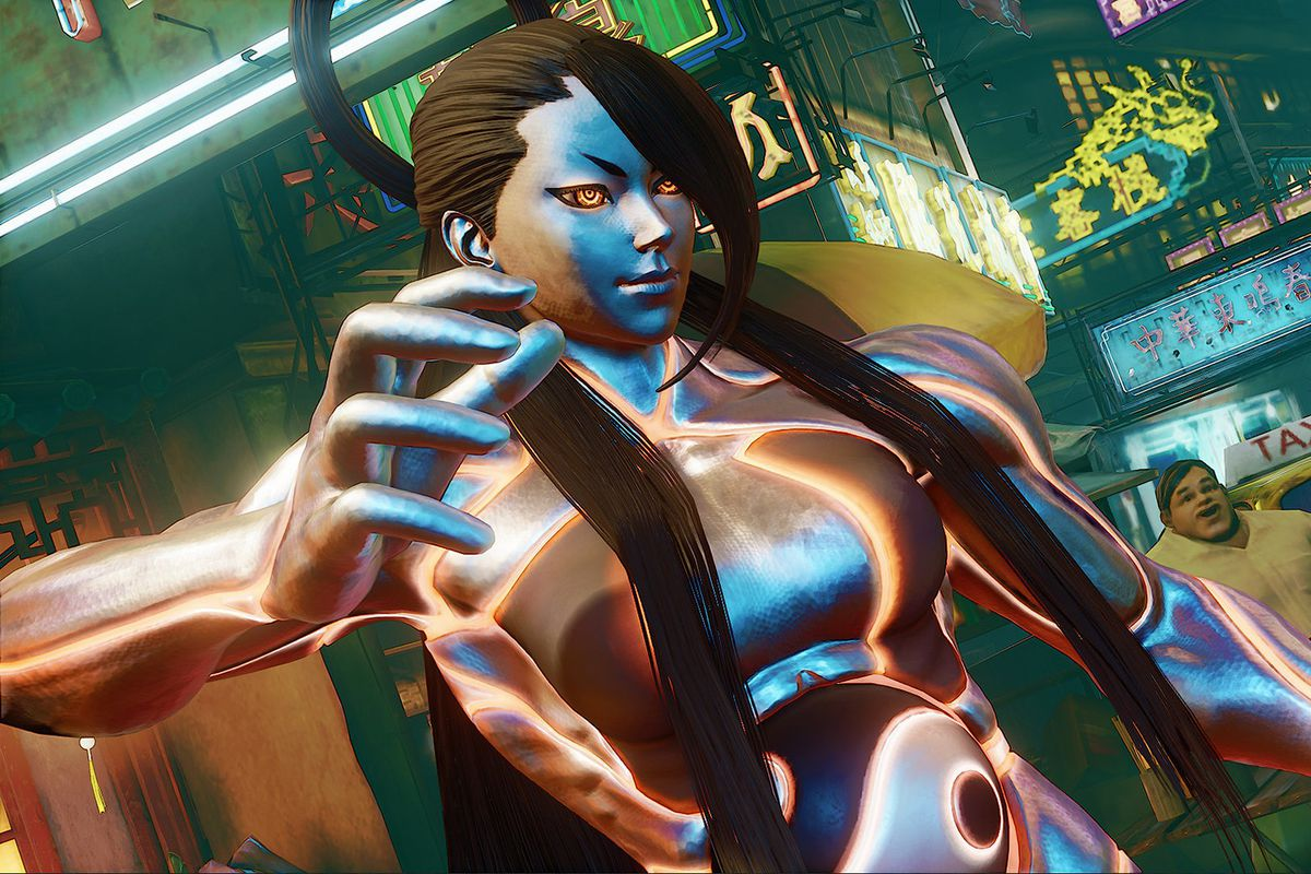 Street Fighter 5's version of Seth gives the silvery clone a female form