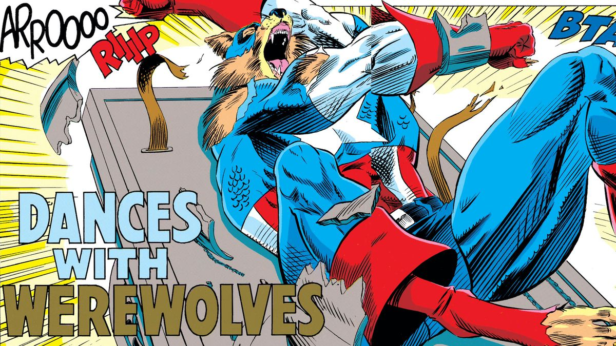 Captain America transforms into a werewolf, breaking the bonds that once strapped him to an examining table, in Captain America #405, Marvel Comics (1992).