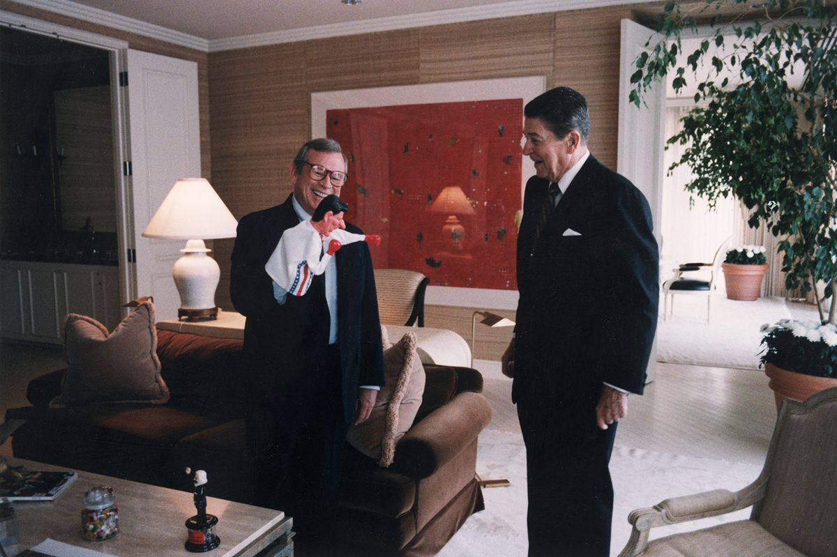 Reagan with a puppet.