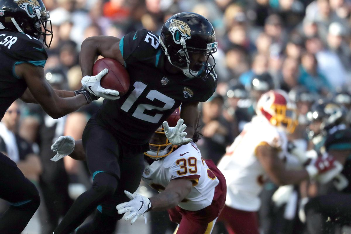 Jacksonville Jaguars wide receiver Dede Westbrook runs with the ball against the Washington Redskins during the second half at TIAA Bank Field.